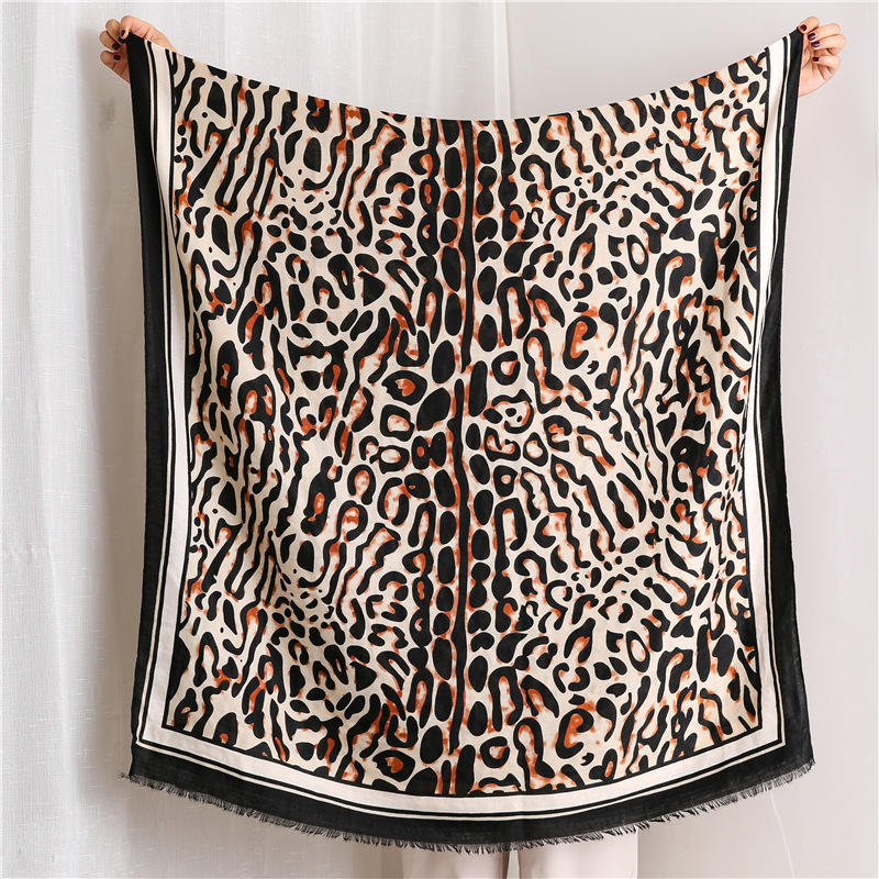 Leopard scarf women color coffee color long cotton shawl NHGD171780