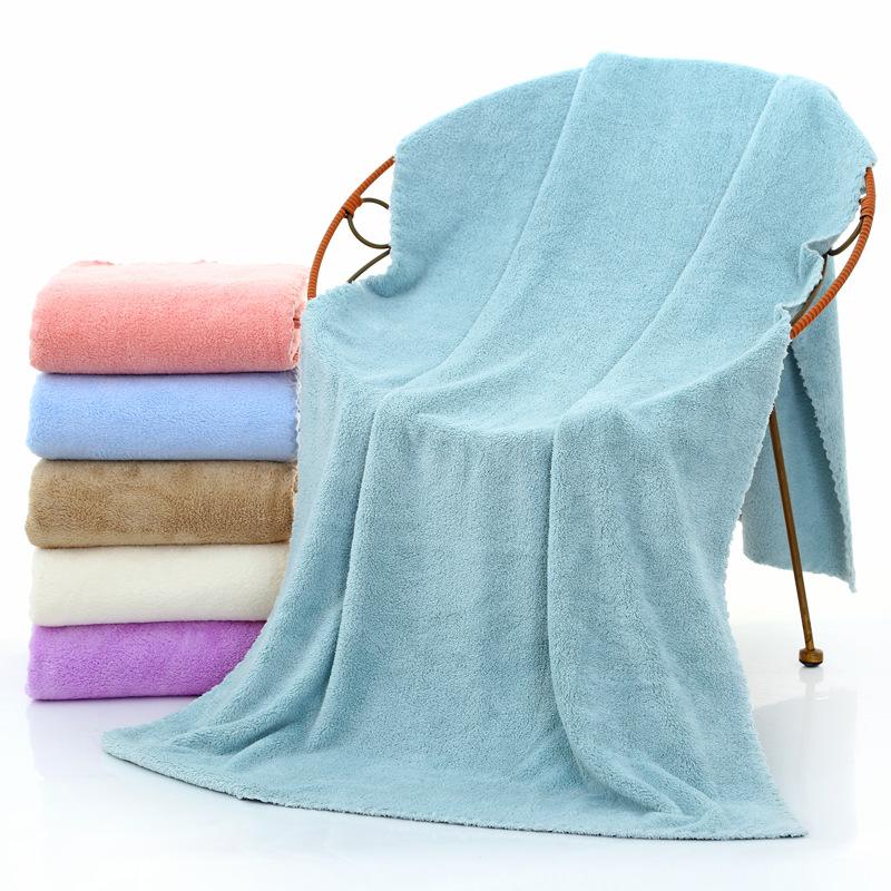 70*140cm浴巾珊瑚绒超细纤维沙滩美容巾定制LOGO礼品成人吸水加厚