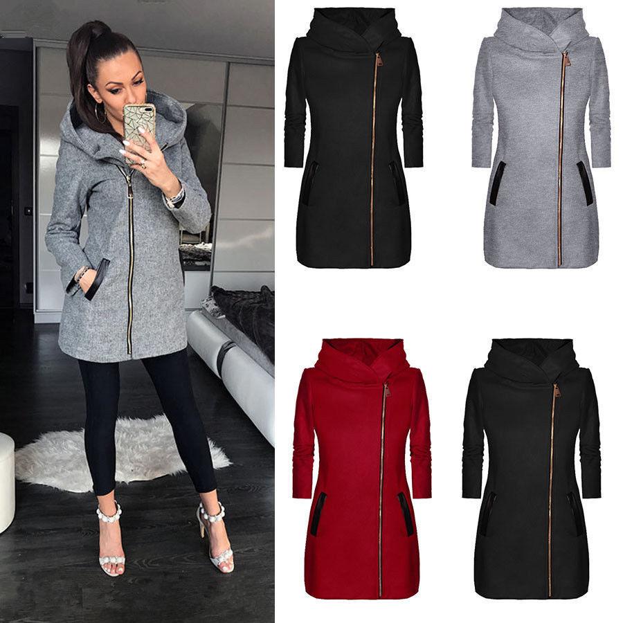 跨境货源ebay速卖通热卖女装 侧拉链加绒外套中长款连帽夹克卫衣