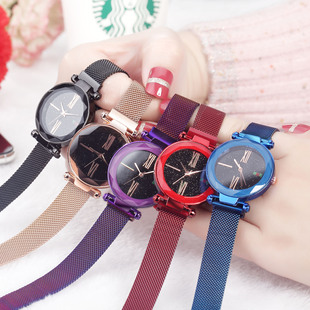 2020 new vibrato starry sky watch magnet magnet strap lazy ladies watch magnet steel mesh strap watch
