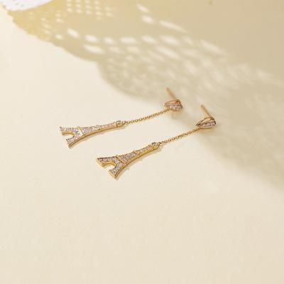原创珠宝设计 巴黎铁塔系列 18K玫瑰金镶嵌钻石耳环 正东珠宝