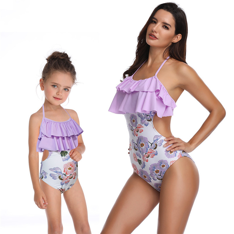 e32e735b36bf1 Fashion Matching Family Bathing Suits Mother Girl Bikini Swimsuit For Mom  and Daughter Swimsuits Female Children Baby Kid Beach Swimwear