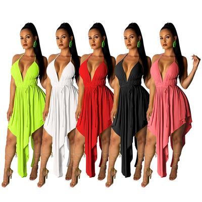 Black red green white halter neck singers nightclub bar performance dresses for women slim suspender sexy backless irregular dress