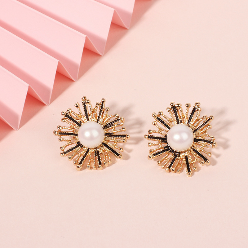 Fashion design jewelry alloy dandelion boho style flower pearl earrings for women NHRN240994