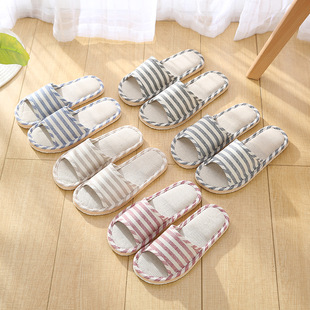 Four seasons striped home men and women couple linen slippers home foam bottom indoor wood floor slippers factory wholesale