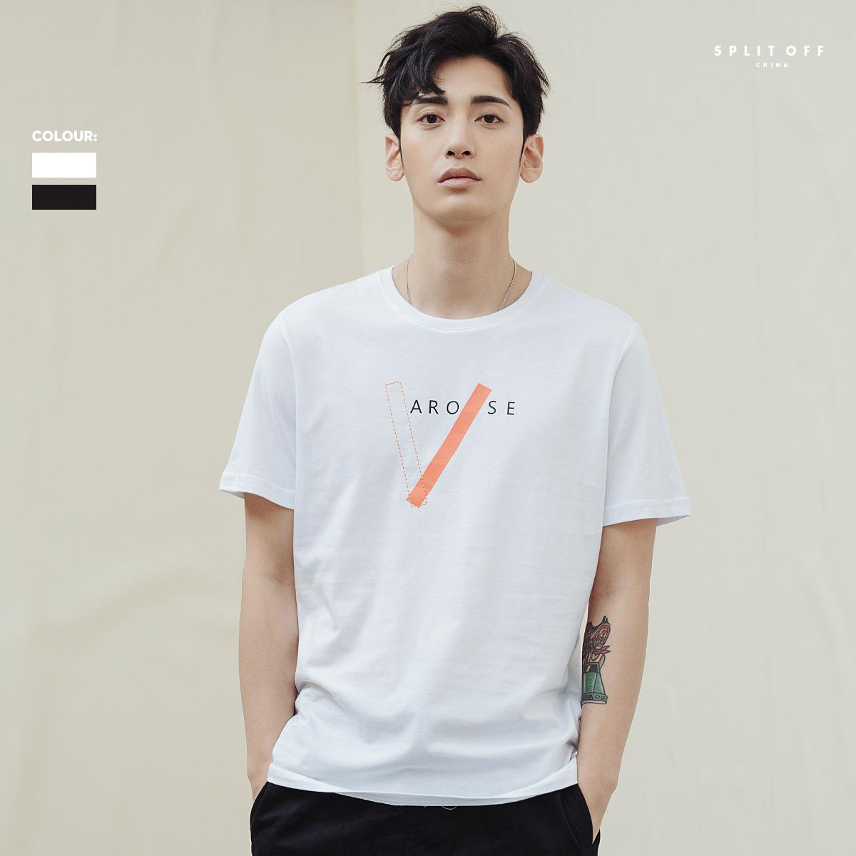 2019新款潮流男士短袖T恤 韩版个性印花半袖上衣男潮G家鸟牌上衣
