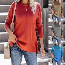 現貨ebay亞馬遜熱銷歐美女裝純色寬松長袖女式T恤針織衫上衣FC719