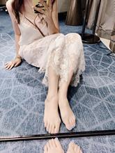 歐洲站19春夏新款女 定制鏤空睫毛蕾絲面料 薄款闊腿九分褲