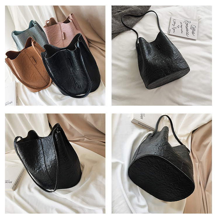 New fashion solid color Tot bucket bag female simple large capacity soft leather shoulder bag NHPB172669