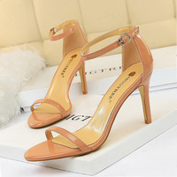 126-A10 Euro-American fashion simple toe-strip high-heeled shoes with thin heels and high heels lacquer sexy women's sandals