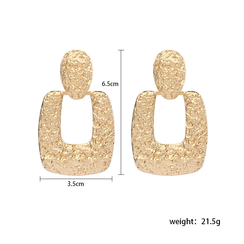 Fashion new geometric triangle exaggerated alloy earrings for women NHRN259930