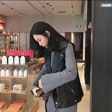 韓版機車PU皮短款夾克西裝領拉鏈口袋馬甲百搭顯瘦春秋皮衣外套女