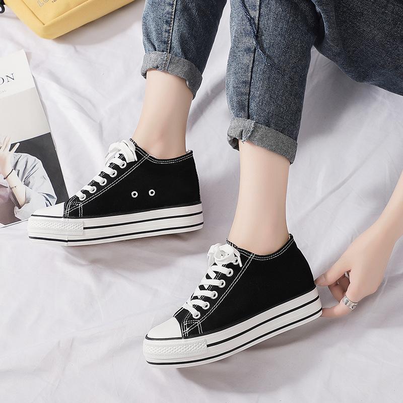 內增高帆布鞋女學生鞋子女2019潮鞋新款韓版小白鞋女透氣板鞋女潮