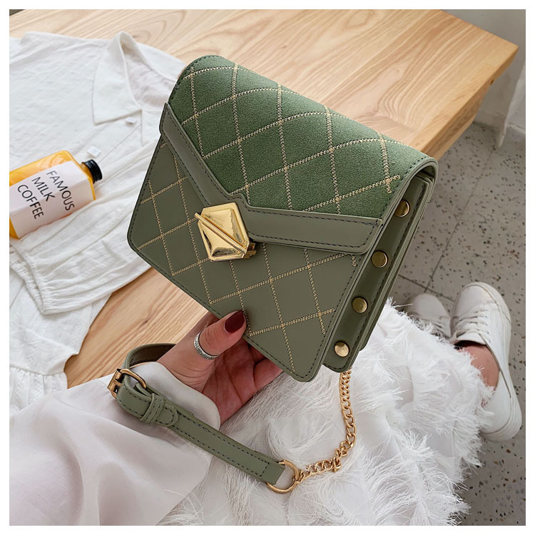 New embroidered chain bag women's fashion texture lock frosted messenger shoulder small square bag NHPB196976