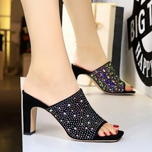 83-6 Korean fashionable slippers with thin high heels and coloured diamonds