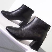 歐美中筒靴粗跟英倫風網紅高跟鞋2019新款絨面女靴馬丁靴時尚單靴