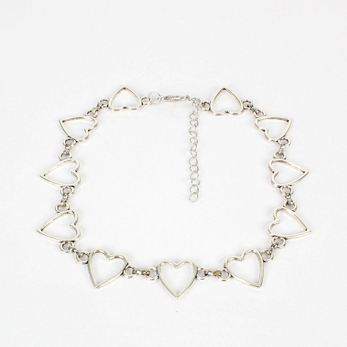 Heart-shaped hollow chain personality geometric creative handmade necklace female NHCT173234