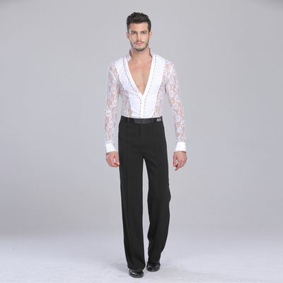 Men's lace rhinestones latin dance body shirts long sleeves v neck ballroom waltz tango dance body tops