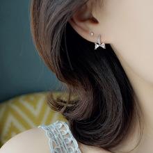 雍程通体S925纯银耳环女甜美蝴蝶结耳扣镶钻小耳圈气质白领耳饰