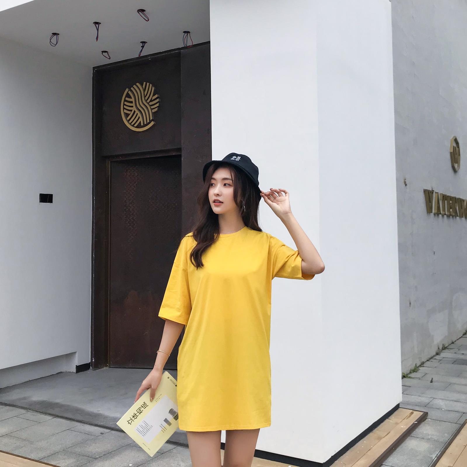 A4新款2020夏季外贸甜美韩版棉套头圆领宽松型女式T恤产地货源