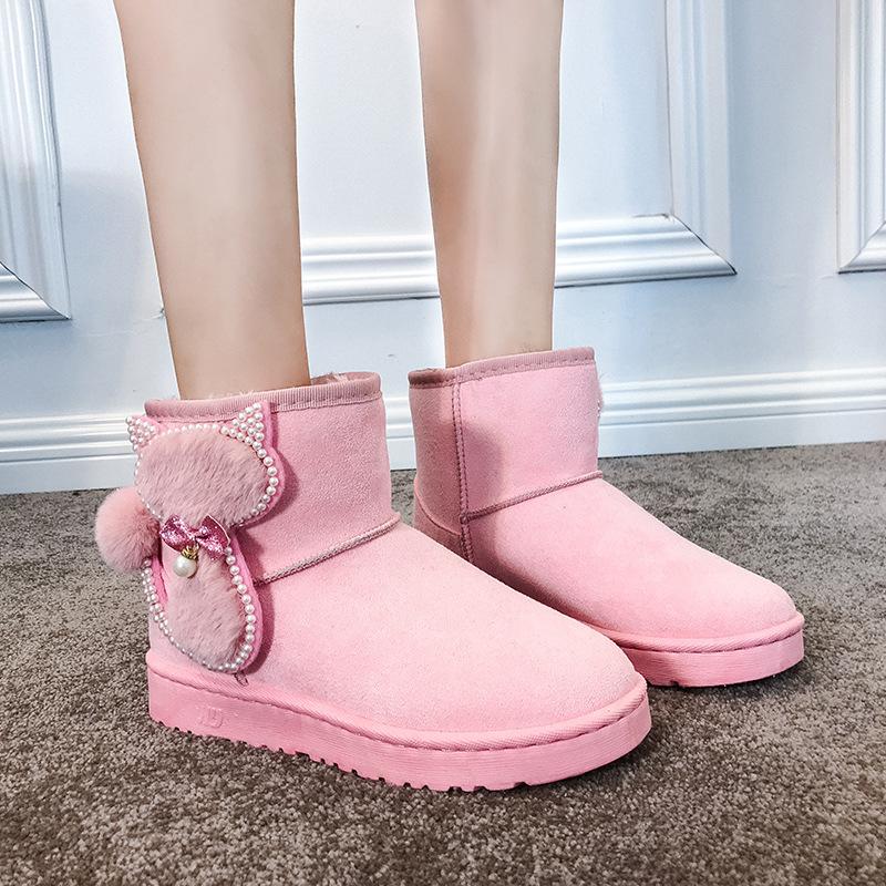 学生加绒厚底ins新款面包棉鞋加厚毛毛少女心懒人网红雪地靴可爱