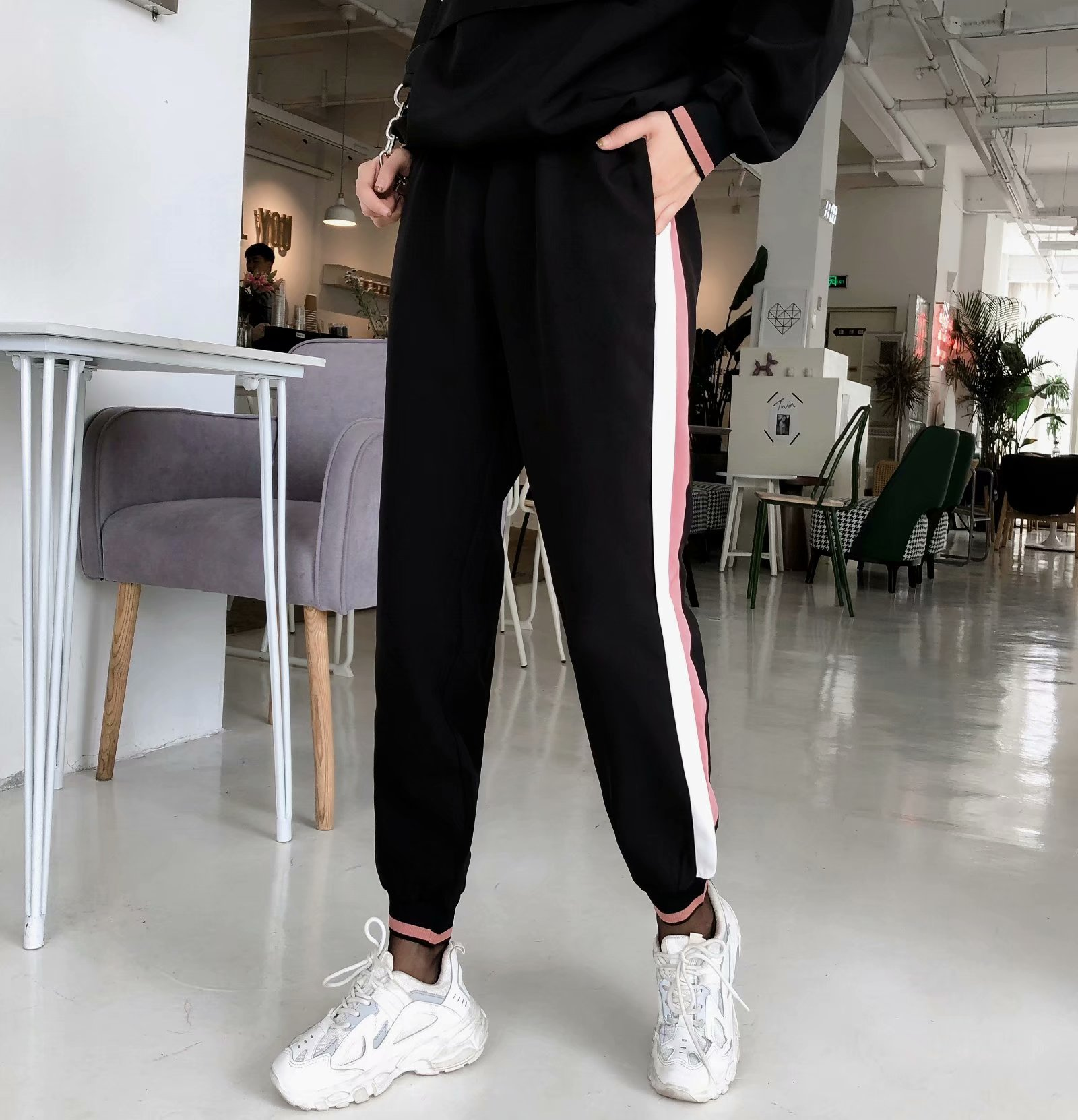 Autumn side belt with jogging pants  casual pants NHAM157276