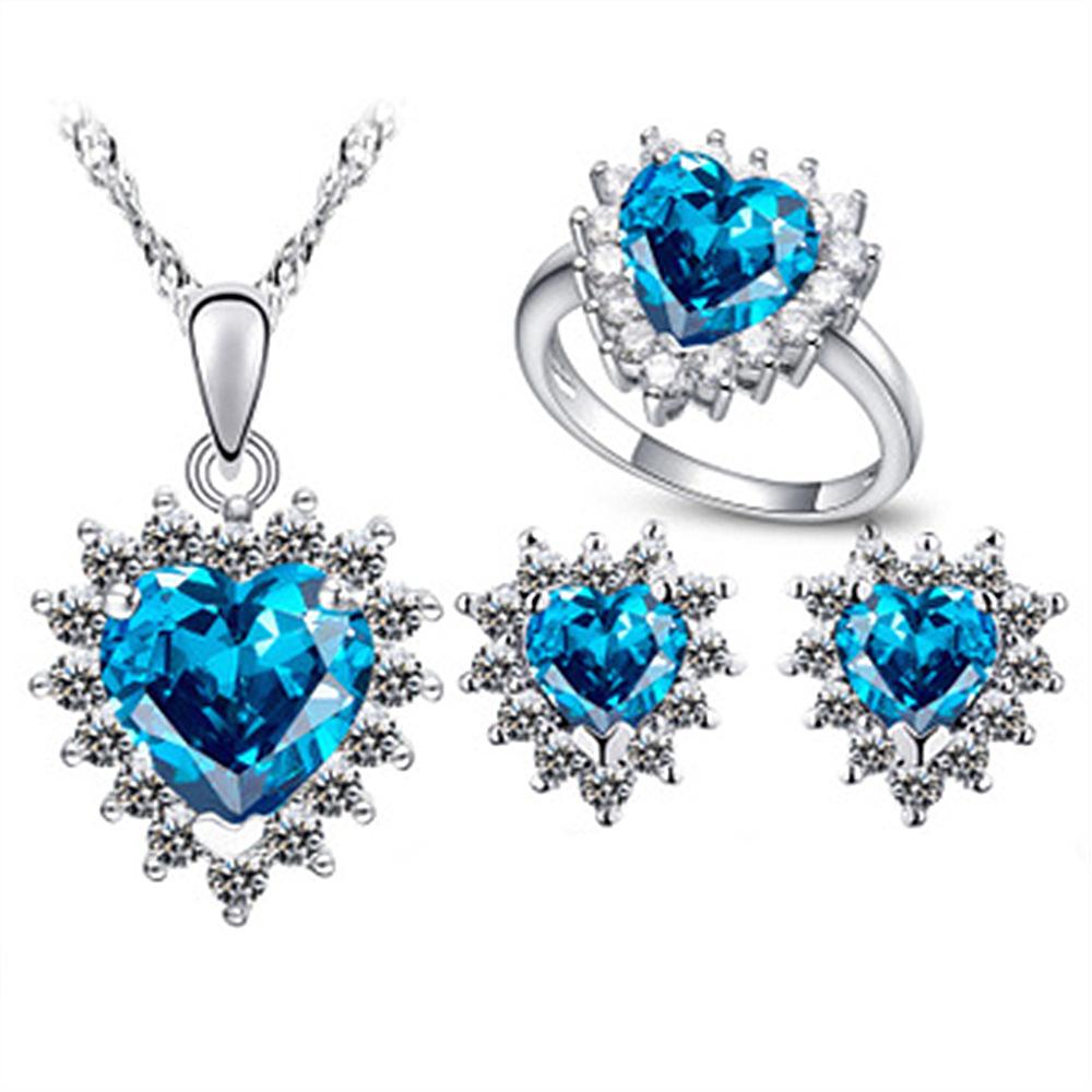 欧美跨境电商 微镶锆石 海洋之心项链戒指耳钉套装 婚礼珠宝首饰