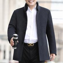 中老年毛呢大衣男士短款呢子外套冬季加厚保暖立领爸爸装一件代发