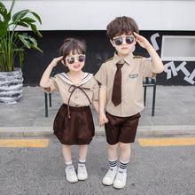 1儿童套装2019夏季新款童装女童海军风套装男童班服校服两件套