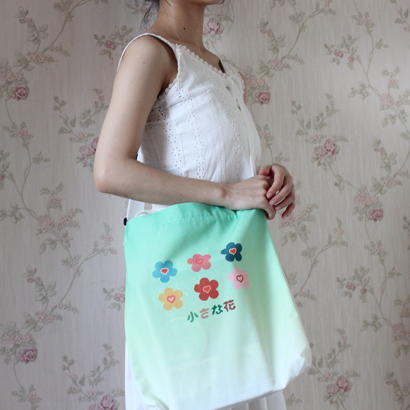 Buddha canvas commuter gradient color printed fabric portable student tutorial bag NHNI172758