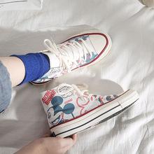 2019年新款夏季卡通帆布联名擦油学生板鞋女韩版百搭休闲鞋米老鼠