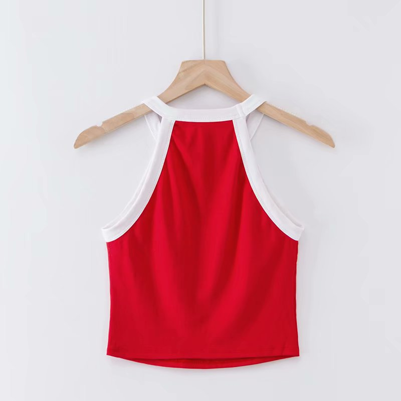 Autumn narrow shoulder color matching slim belly navel camisole NHAM147490