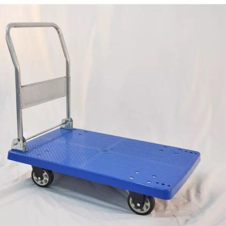 批发四轮折叠静音拖车搬运工具手推车塑料平板推车100*65