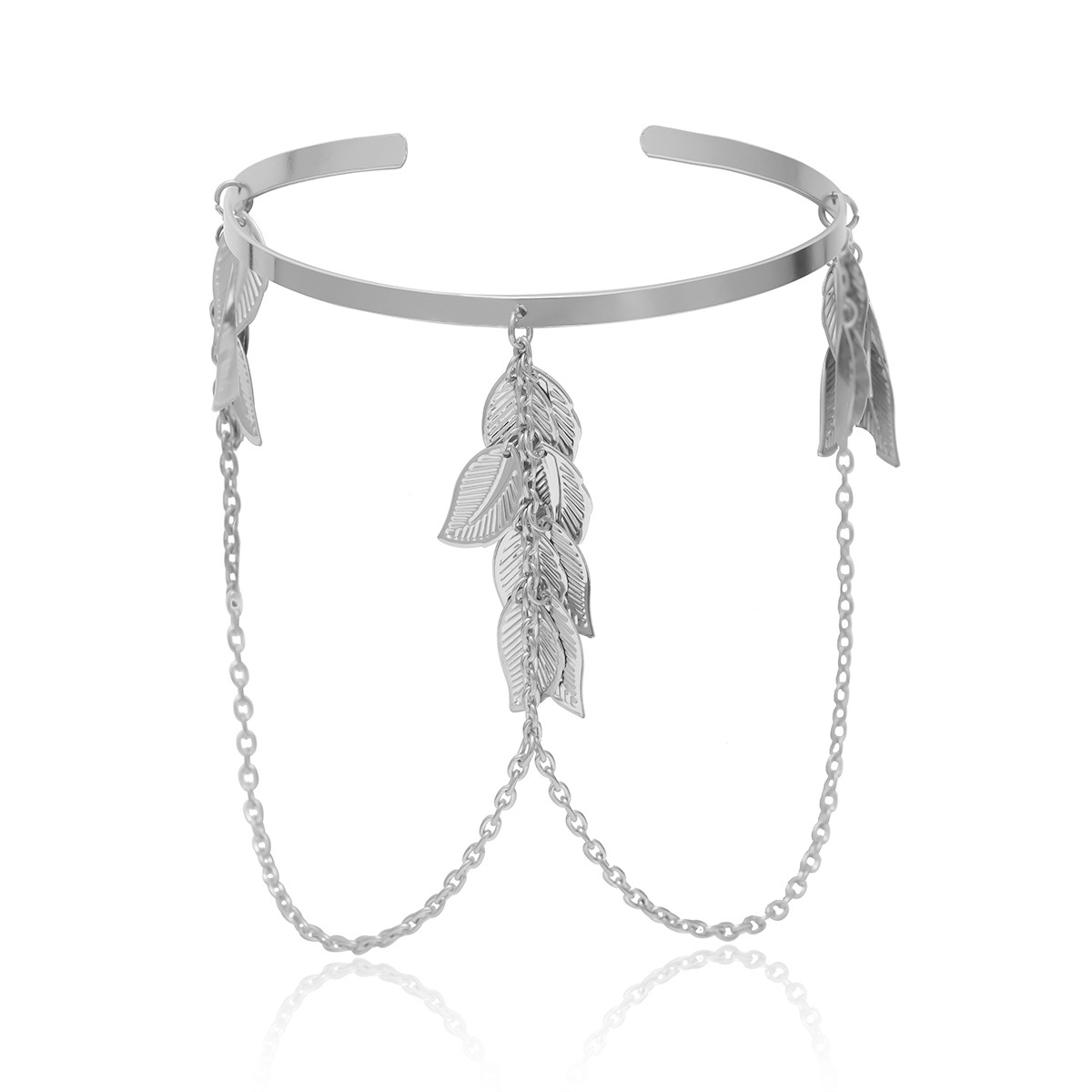 Geometric leaves fringed chain pendant arm bracelet NHXR141818