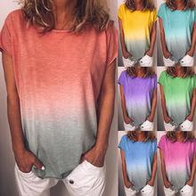 现货 欧美爆款女装ebay亚马逊爆款 彩虹渐变印花毛边T恤OM9031