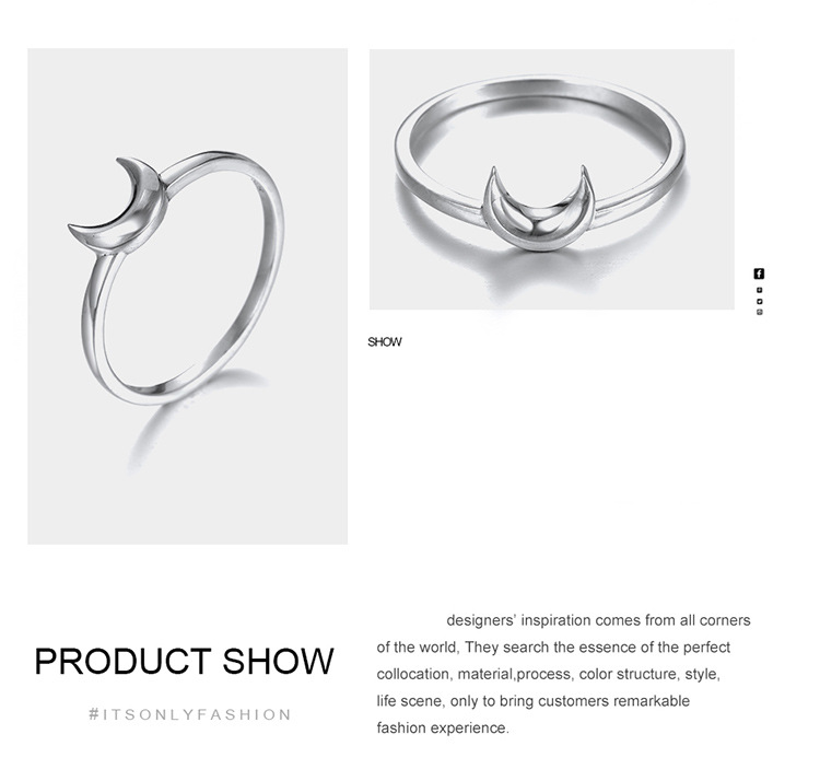 new Korean style simple moon shape ring 925 silver fashion ring wholesale nihaojewelry NHTF239435