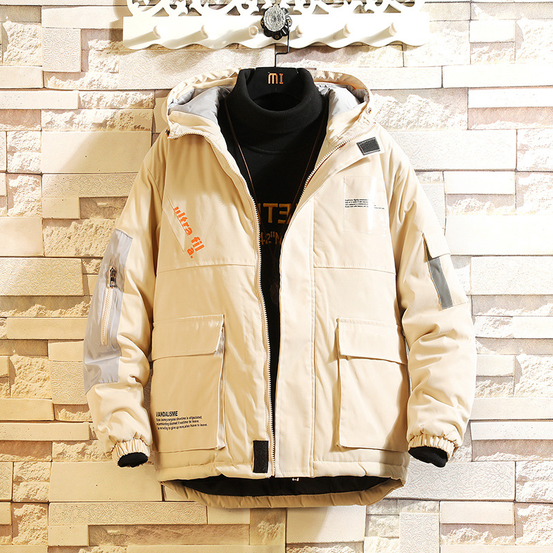 Winter new men's Hong Kong Style loose large size hooded cotton jacket letter printed cotton jacket large pocket work clothes cotton clothes