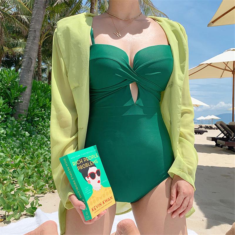 Korean One-Piece Triangle Bikini Sexy Yellow White Strap Halter Swimsuit NSHL535