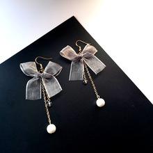蝴蝶结耳环甜美气质磨砂质感珍珠水晶玻璃车轮长款个性无耳洞耳夹