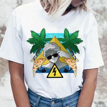 實拍 2019夏季WISH款人物抽象油畫風印花休閑寬松短袖T恤女
