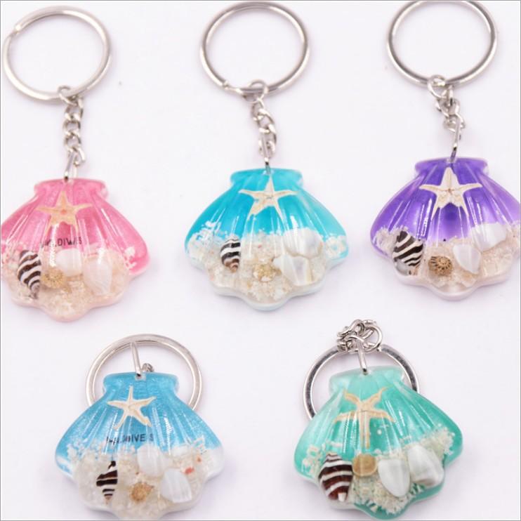 新款贝壳形夜光石海星钥匙扣挂件饰品简约时尚旅游景区工艺品礼物