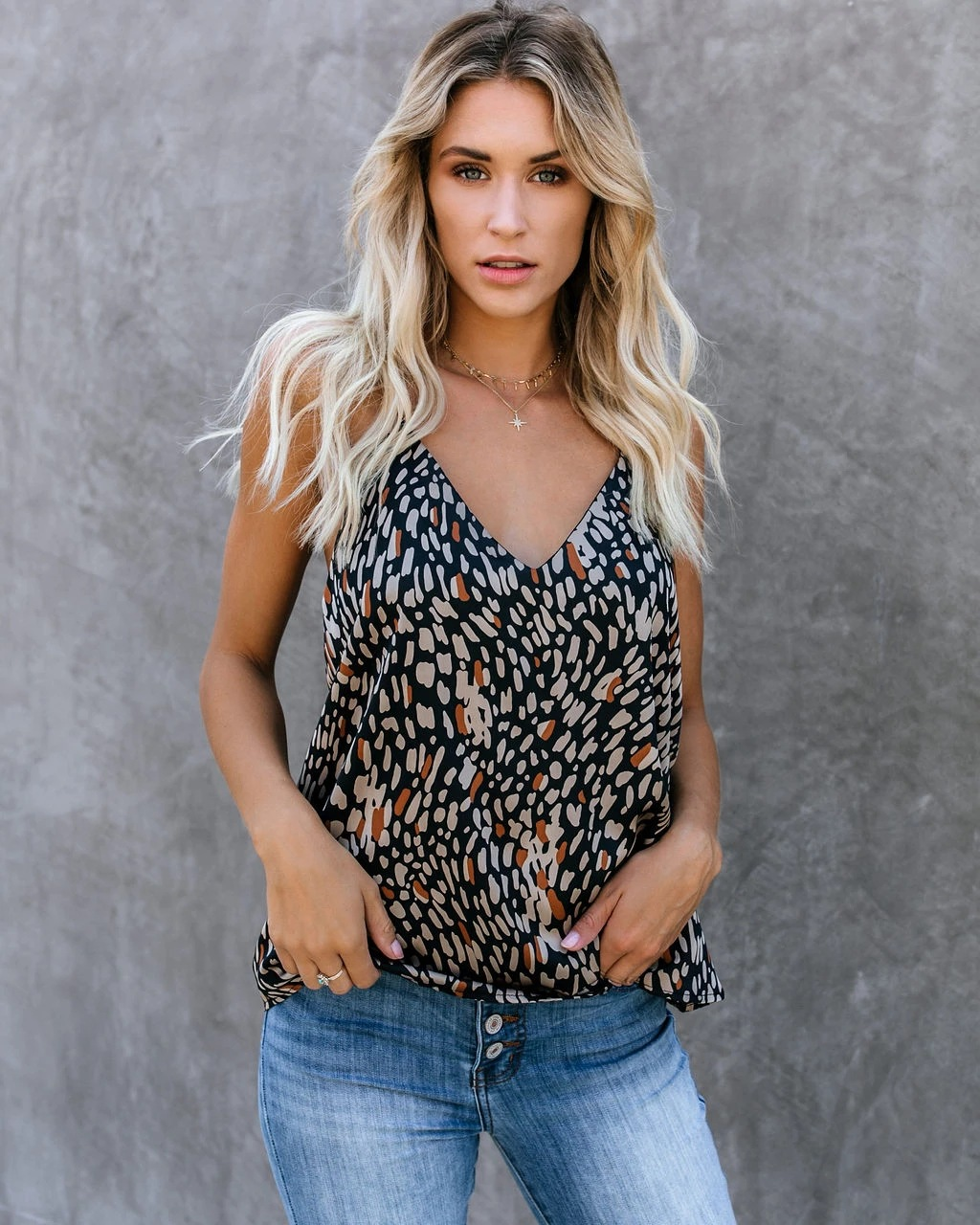 summer new fashion print V-neck lace bottoming shirt small vest top  NSYF1063