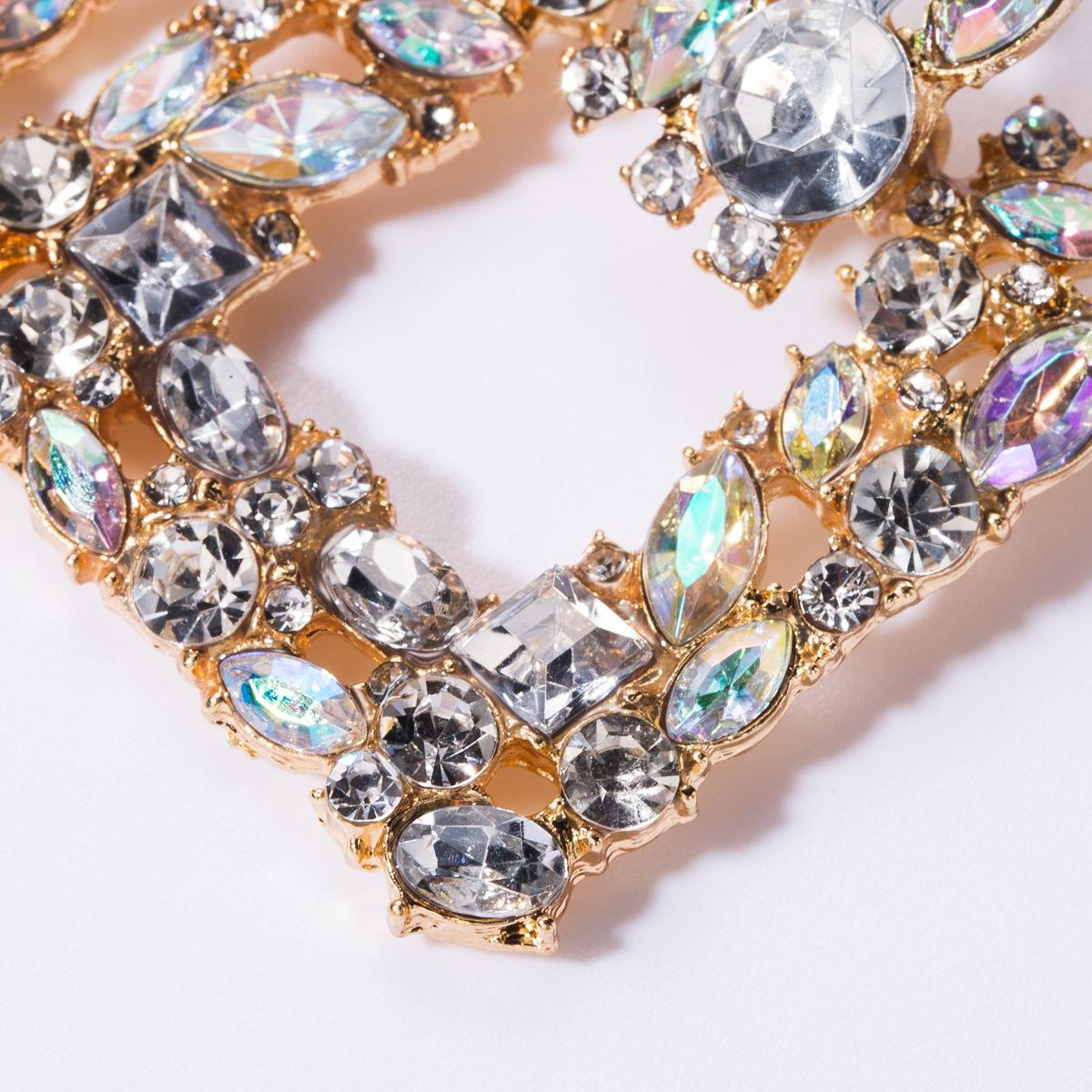 Square alloy diamond rhinestone glass drill full diamond earrings female highgrade super flash earrings NHJE176142