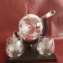 厂家直销帆船地球仪玻璃酒瓶磨砂口地图杯子木架地图盛酒器
