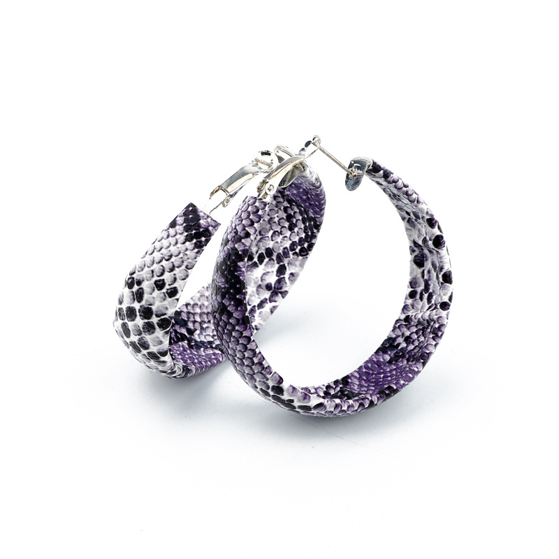 New opening exaggerated snakeskin earrings retro NHGO171864