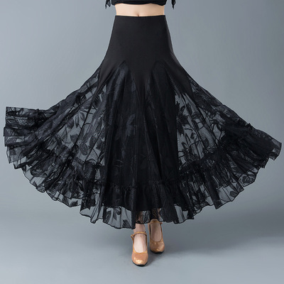 Ballroom dance big swing skirt for female adult national standard dance half Skirt Waltz dancing practice skirt