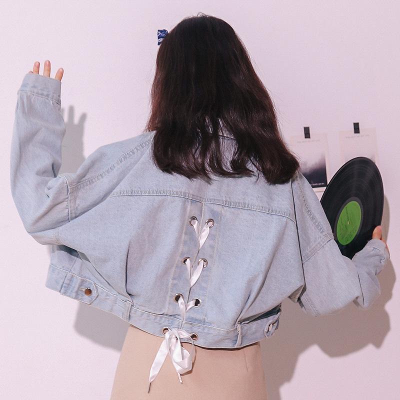 實拍2019秋季新款韓版系帶上衣長袖短款寬松潮小清新牛仔外套女潮
