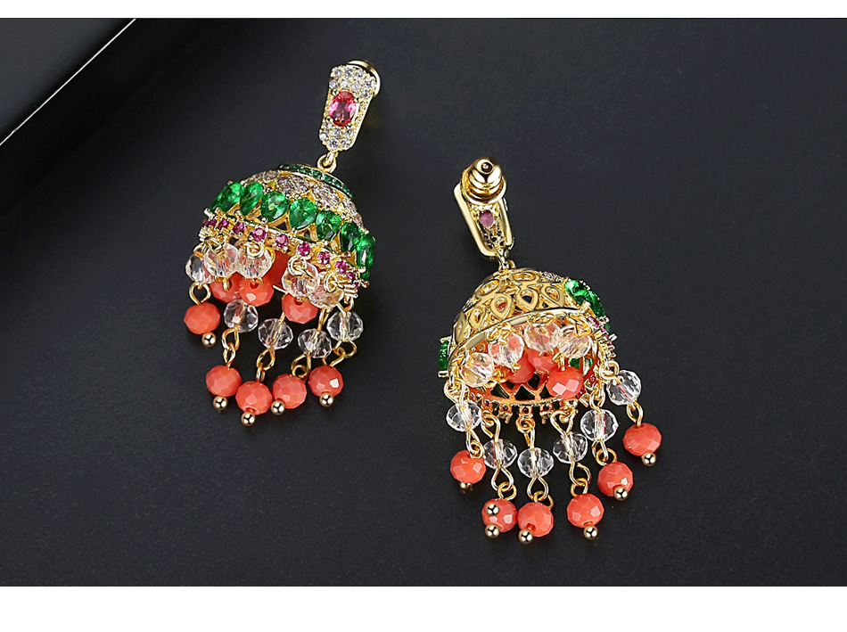 Vintage court style luxury super fairy earrings ethnic copper zircon green diamond tassel earrings NHTM199583