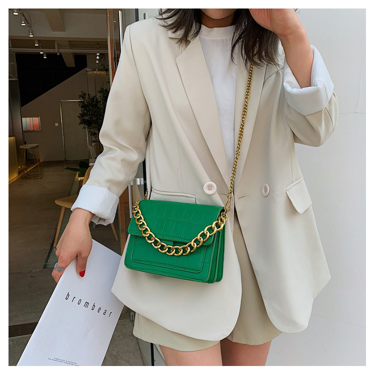 Fashion simple solid color crocodile pattern small square bag NHLD146409