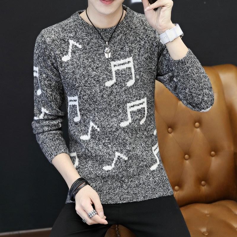 冬季圆领毛衣男士韩版潮流保暖针织衫修身款加厚线衣线衫打底衫潮